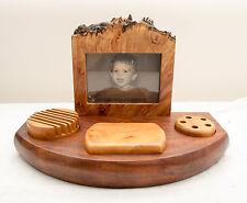 Made-in-the-USA One-Of-a-Kind Maple Burl/Walnut Nova Desk Set by Neil Austin