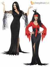 Ladies Morticia Vampire Costume Womens Halloween Long Witch Fancy Dress Outfit