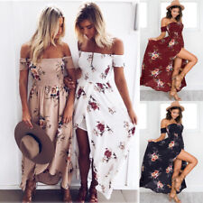 Boho Womens Holiday Off Shoulder Floral Maxi Ladies Summer Beach Party Dresses