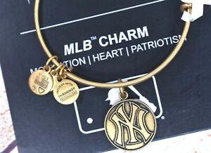 NEW NWT Alex and Ani NY New York Yankee Cap Logo Bangle Gold Bracelet W/Card