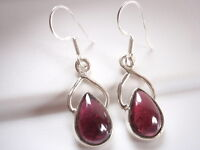 Nicely Accented Garnet Teardrop 925 Sterling Silver Dangle Earrings
