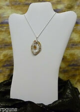 Geode Slice Necklace with Citrine Drop DRUZY Crystals DP133 Quartz FREE SHIP