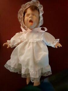 "11"" Sleepy Time Plastic Head/Limbs Cloth Body Baby Doll Yawning"