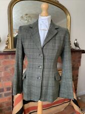 Girls Caldene Green/Black/Cream Overcheck Tweed Hacking Jacket Size Maids 34