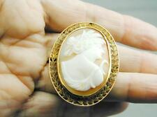 STUNNING 10k Gold Hand Carved Shell Cameo Pin Pendant Detailed