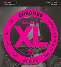 D'Addario ECB81S 4 Cuerdas Flatwound Chromes 45-100 cuerdas de bajo escala corta
