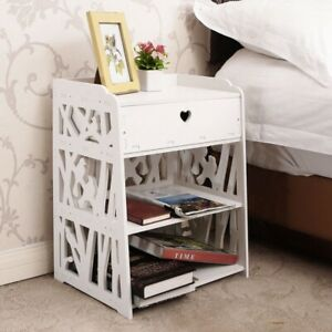 Modern Bedside Table Wooden Cabinet & Drawer Bedroom Nightstand Storage Unit