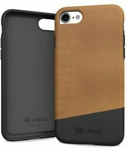 i-Paint Protective Genuine Leather Phone Case for iPhone 7/8 - Brown