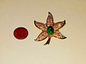 Vintage floral leaf faux pearl large faux jade stone Gold tone Brooch Pin NICE