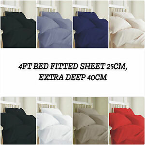 100%Egyptian-Cotton-T200- 4Ft (Small Double)Bed Fitted-Sheet-25cm-Extra-Deep40cm