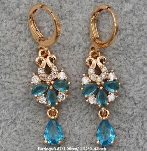 3.50Ct Pear Cut Blue Topaz Drop/Dangle Solitaire Earrings 14K Rose Gold Finish