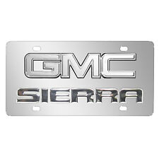 GMC Sierra Double 3D Logo Chrome Stainless Steel License Plate, Made in USA