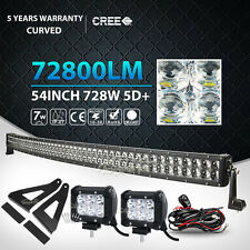 """4D CREE 54Inch 728W+2X 4"""" 18W Curved LED Light Bar + Mount Bracket Fit Ford F150"""