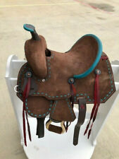 """16"""" New Western Leather  Horse Ranch Buck Stiched Saddle"""