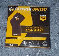 Copper United Knee Sleeve Compression Running Sports Large Black NEW