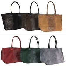Ladies Italian Large Suede Crocodile Leather Handbag Made In Italy
