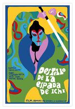 Decor movie Poster 4 film Sword of Blind ICHI.Japan.Zatoichi art.Shintaro Katsu.