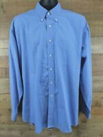 Tommy Hilfiger Mens Dress Shirt Long Sleeve Blue White Stripe Sz 18 Cotton 36-37
