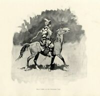 FREDERIC REMINGTON HORSE RACING A CLOSE FINISH JOCKEY 1887 RACE HORSE ENGRAVING
