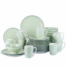 32pc Dinner Set Porcelain Plates Bowls Dinnerware Crockery 8 Place Setting Green