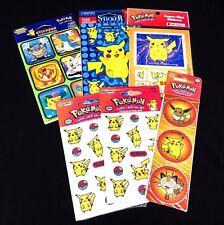 Vintage 1999 Pokemon Stickers Lot (8 Sheets Total) SandyLion - Pikachu, Eevee