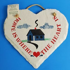 Hand Painted Stencil Tile Home Is Where The Heart Is New England Slate Farmhouse