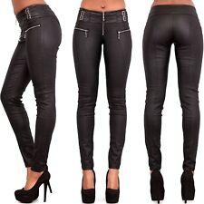 WOMEN LEATHER LOOK LEGGINGS BLACK WET TROUSERS SEXY JEANS SIZE 6 8 10 12 14