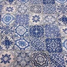Stoff Meterware Baumwolle blau weiß Delfter Kacheln Lissabon Fliesen Frankreich