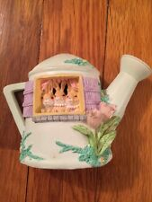 Russ Berrie Li'l Cozy Cottage Sculpstone Watering Can Cottage Bunnies Easter