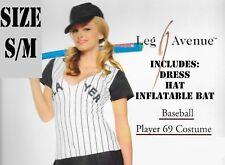 ADULT HALLOWEEN COSTUME SEXY SML/MED PLAYER 69 BASEBALL DRESS CAP INFLATABLE BAT