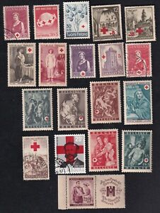 M-48 Denmark, France, Belgium and more, lot of 19 stamps of Red Cross