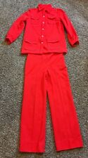 Vintage Womens Pant Jacket Suit Double Knit Red Size M Handmade