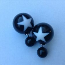 Black Ball Double Sided White Star Ear Studs Statement Earrings Gothic Punk Rock