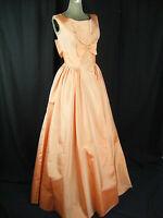 LORRIE DEB Vtg 50-60s Lt Peach Bows Front & Back Long Dress-Bust 33/XXS
