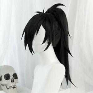 Anime Dororo Hyakkimaru Cosplay Hair Wig Black Ponytail Clip Hairwear Long Wigs