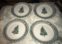"Furio Italy Home Holiday Christmas Sponge Tree 10 1/4"" Dinner Plates Set 4"