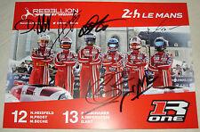 Le Mans 2015-FIA WEC-rebelión Racing R-ONE AER Cars #12 & #13 Tarjeta Firmada -