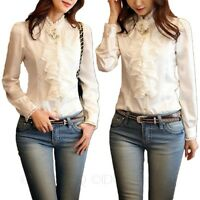 Silky Shirt Office Ladies Lace Collar Satin Blouse Womens princess Top Size
