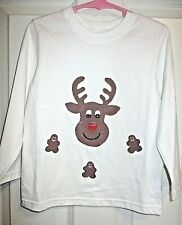 kids white christmas top rudolph the reindeer gingerbread men size 4T holiday
