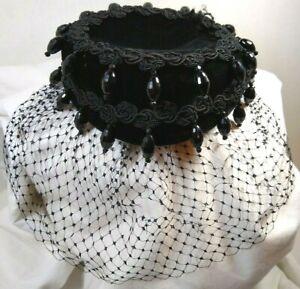 Black Velvet Beaded ladies Hat Netting  DeWitt  Halloween Costume