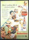 1952 Budweiser Beer Vendor Baseball Game Fans Eating Hot Dogs & Popcorn Print Ad