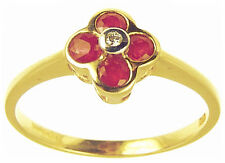 9 Carat Cluster Yellow Gold Fine Gemstone Rings