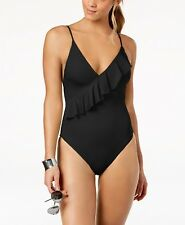 Trina Turk Ruffled Black High-Leg Cheeky One-Piece Swimsuit 6 NWT New $132