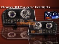 05-09 CHRYSLER 300 PROJECTOR HEADLIGHTS BLACK 2 HALO CCFL LED