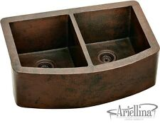 Ariellina Farmhouse 14 Gauge Copper Kitchen Sink Lifetime Warranty New AC1800