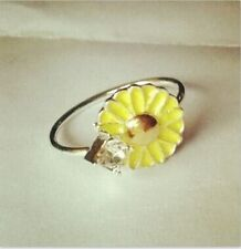 silver flower Ring rhinestone daisy Open adjustable yellow buttercup 60s 70s UK