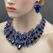 18K Gold Plated GP Sapphire Blue Crystal Leaf Necklace Earrings Jewelry Set 4501