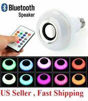 Wireless  Bluetooth LED Light Speaker Bulb RGB E27 12W Music Playing  Remote