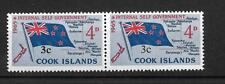 COOK ISLDS, QE11, 1967 DEFINS, 3c ON 4d, SG 209-209a ,MNH PAIR, FLAW THIN 3C