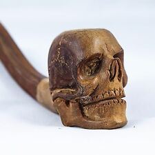 New Tobacco Pipe Unsmoked Hand Carved Wooden Skull Head Design Smoking Pipes